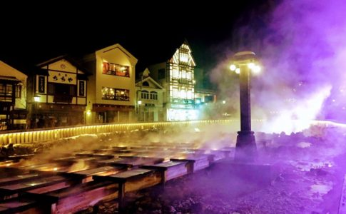 草津温泉, 湯畑, 夜景, Kusatsu-Onsen, Yubatake, Hot Water Field, Night View