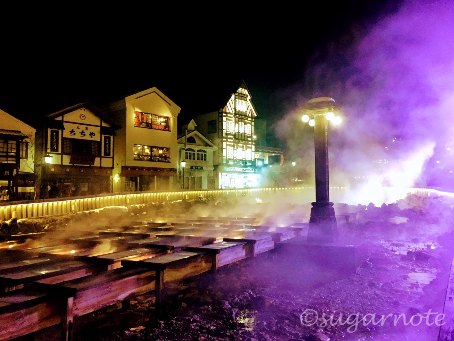 草津温泉, 湯畑, 夜景, Kusatsu-Onsen, Yubatake, Hot Water Field, Night View