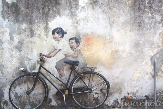 Malaysia, Penang, George Town Street Art, マレーシア, ペナン島, ストリートアート, H Kids on Bicycle