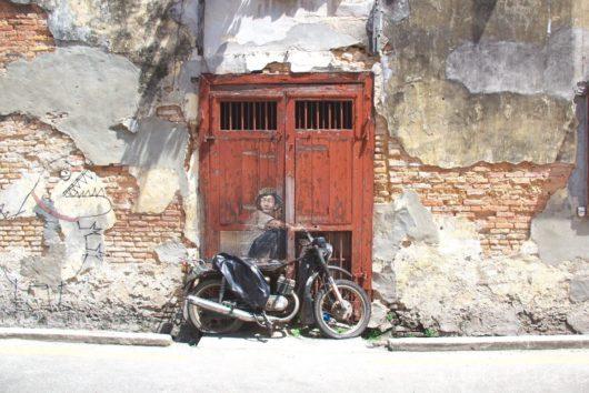 Old Motorcycle, Malaysia, Penang, World Heritage, George Town, Street Art, マレーシアペナン島, 世界遺産ジョージタウン, ストリートアート,