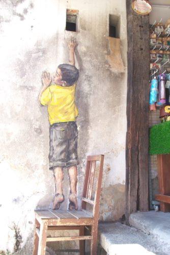 Boy On Chair, Malaysia, Penang, World Heritage, George Town, Street Art, マレーシアペナン島, 世界遺産ジョージタウン, ストリートアート,