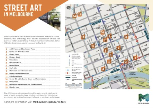 Street art in Melbourne map, メルボルンのストリートアートのマップ,